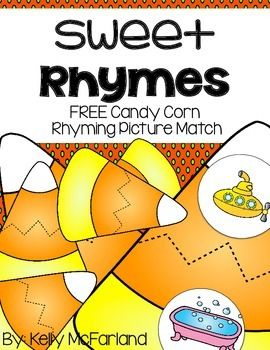 This is a Candy Corn Rhyming Picture Match Activity.  It is a simple, fun, and effective activity that can be used in a center or work station.  Students will look at a picture, say the word aloud, then find its matching rhyming word.   Easy Prep:  Laminate and cut apart the pieces of candy corn.