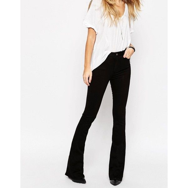 ASOS Bell Flare Jeans In Clean Black With Pressed Crease ($43) ❤ liked on Polyvore featuring jeans, black, straight leg jeans, zipper jeans, tall jeans, high waisted straight leg jeans and tall straight leg jeans