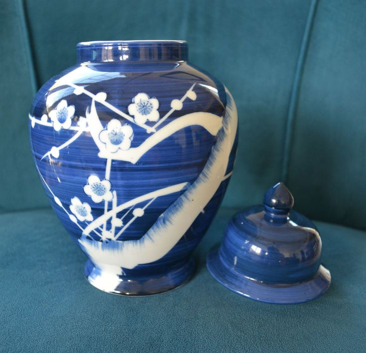 Chinese/Japanese Lg Blue White Prunus Jar with Lid Hand Painted Unusual Mark