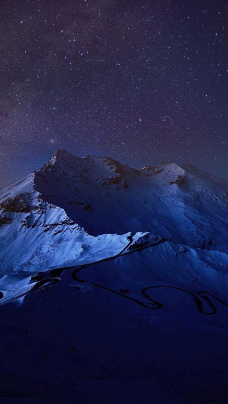 雪山と銀河 iPhone6壁紙
