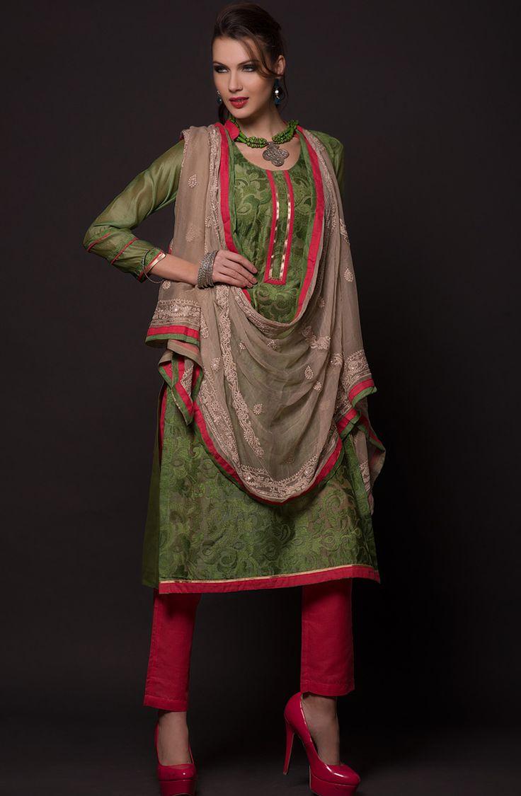 Teal Green & Red Unstitched Salwar Kameez - MT2010