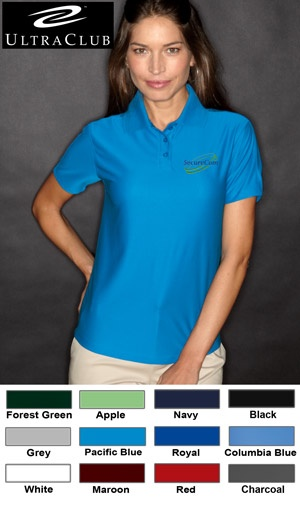#ultraclub #ladies #polos $24.86 Features: 100% micro-textured polyester knit; 4.8-ounce; moisture-wicking; anti-bacterial; anti-static; UV 30 sun protection; tailored sizes for a slimmer fit; 3-button placket; flat-knit collar; hemmed sleeves; solid color shoulder panel; side vents; tagless.  http://ezcorporateclothing.com/custom/66-Ladies-Polos/1647-UltraClub-Ladies%27-Cool-N-Dry-Elite-Performance-Polo/