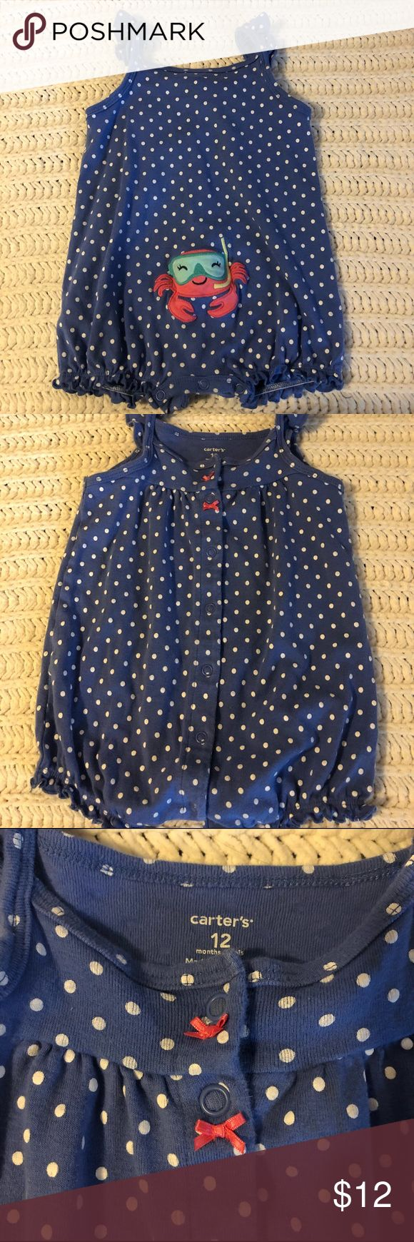 Polka dot romper Blue with white polka dot romper  Has some bows in front and a happy crab on bottom 🦀  So cute and perfect for hot summer days No holes or stains   All items from pet free smoke free home Bottoms Jumpsuits & Rompers