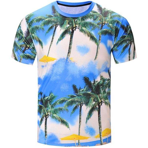 3D Coconut Tree Print Hawaiian T Shirt (41 BRL) ❤ liked on Polyvore featuring men's fashion, men's clothing, men's shirts, men's t-shirts, mens patterned t shirts, mens print shirts, mens hawaiian shirts, men's hawaiian print shirts and mens patterned shirts