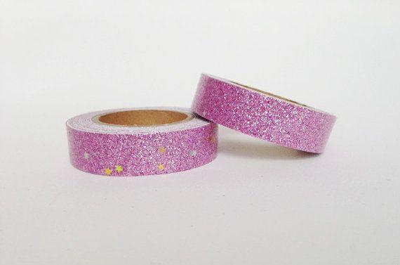 Nastro+adesivo+Glitter+Rosa+con+stelline+dorate+/+di+Partytude,+€4.00