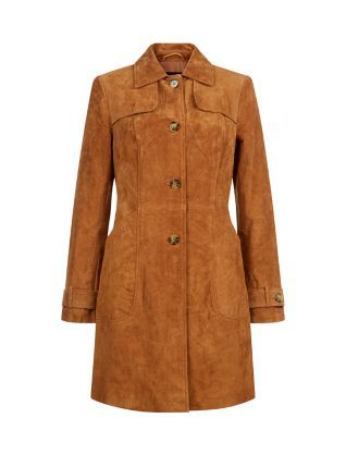 Suede is a key trend for autumn - embrace it with this Tan Suede Trench Coat as a statement cover up. £99.99 #AW15edit #newlook #fashion