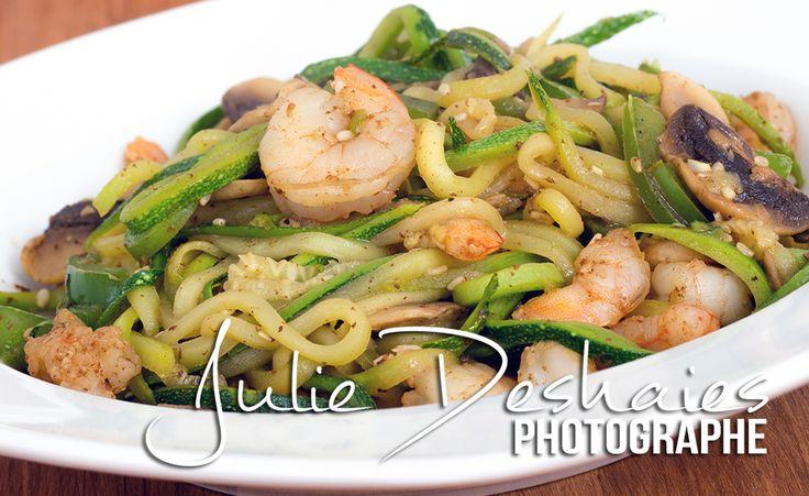 Recette de nouilles de zucchini aux crevettes. #crevette #shrimp #recipe #recette #zucchini #courgette