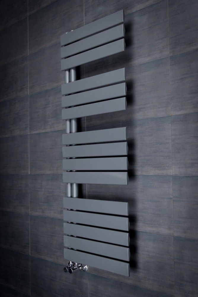 Kristiansund 1380 x 500mm Flat Sand Grey Designer Heated Towel Rail