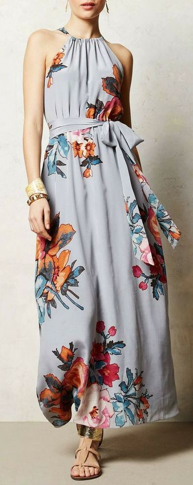Love the top of this dress and the color and pattern, just wish it were knee length instead. Like how the halter top shows off the shoulders