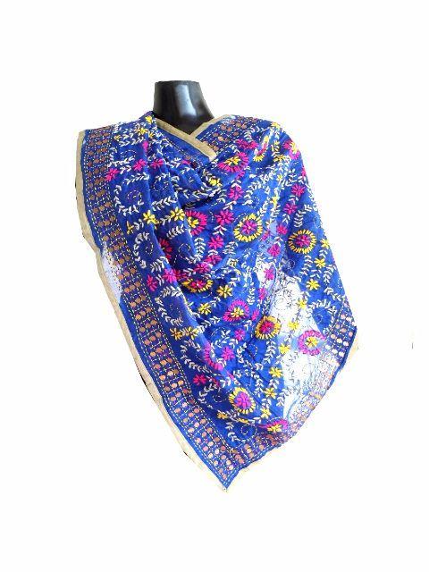 Phulkari Dupatta on Chanderi Fabric -Blue: GiftPiper.com. Shop here for phulkari dupatta, embroidered dupattas, phulkari sarees, phulkari sui