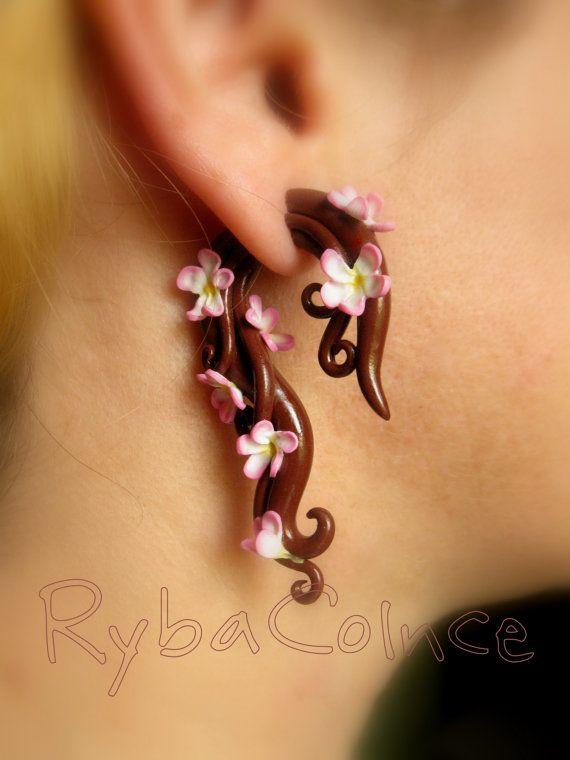 Jauges de tentacule oreille faux - Faux jauges/jauge boucles d'oreilles/tentacule fiche/tentacule boucles d'oreilles /spiral jauge / faux pi...