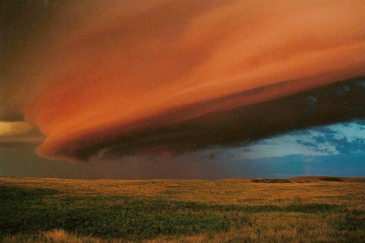 Les nuages tabulaires sont observés à l'avant-garde des orages, bien qu'ils puissent précéder tout front froid pourvu qu'il soit nettement délimité.Ils diffèrent des nuages en rouleaux en ceci qu'ils sont reliés à un système nuageux plus vaste et tapi en altitude.Ils diffèrent aussi des nuages-murs car on rencontre ceux-ci à la traîne des systèmes orageux. Le soleil levant illumine depuis l'est l'impressionnant nuage qui s'avançait lui-même depuis l'ouest.