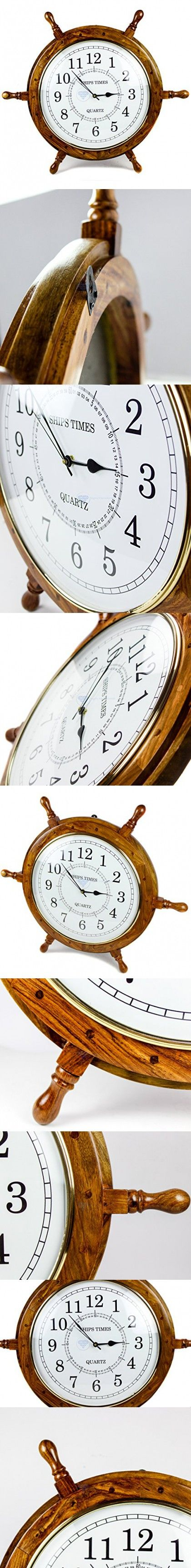 Nautical Hand Crafted Wooden Ship Wheel With Quartz Times Wall Clock - Pirate Nursery Home Decor - Nagina International (16 Inches, White Dial Face)