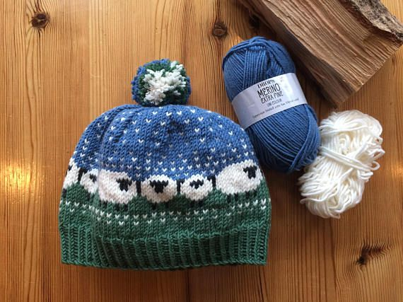 Hand Knitted Hat with Sheep Pattern in soft Merino Wool ready