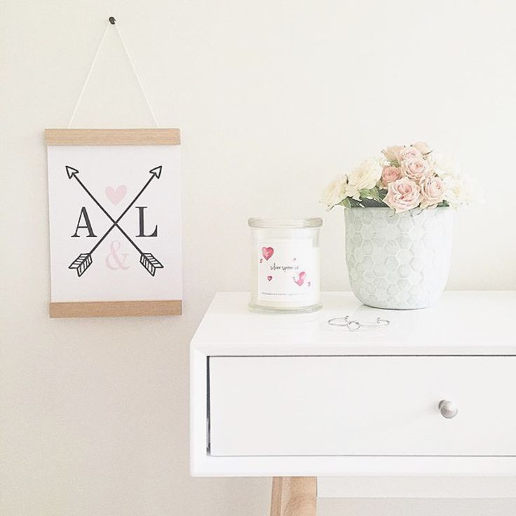Personalised arrows and initials print and oak print hanger. Both in A4.