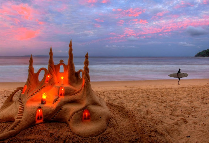 Most spectacular sand castle in Noosa, Australia its probably washed away by now :(