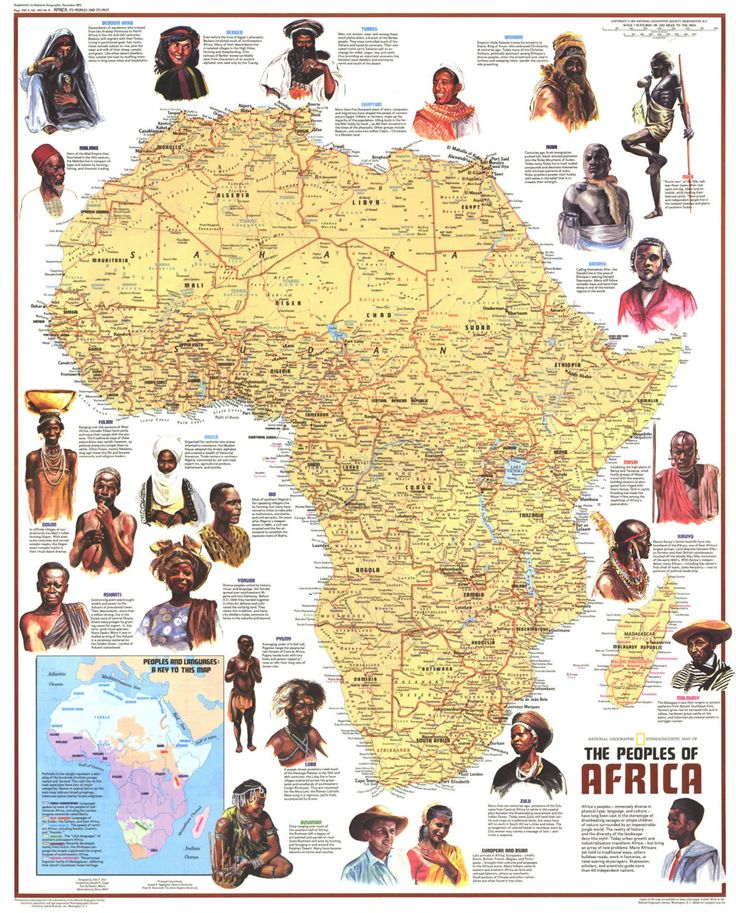 "Africa - Ethnolinguistic Map of the Peoples (1972) Published in December 1971 with the article ""The Zulus: Black Nation in a Land of Apartheid,"" this map is a supplement to the ""Heritage of Africa"" map printed in the same issue. Featuring a physical map with the names of groups and their languages, this map also contains beautiful illustrations and interesting facts about the diverse peoples that inhabit the continent. A varied look at the source of all African descendants world wide."