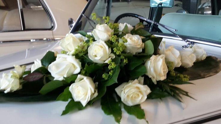 #autobloemstuk #witte rozen
