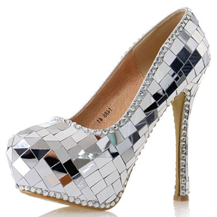Shoespie Glossy Sliver Paillette Platform Bridal Shoes