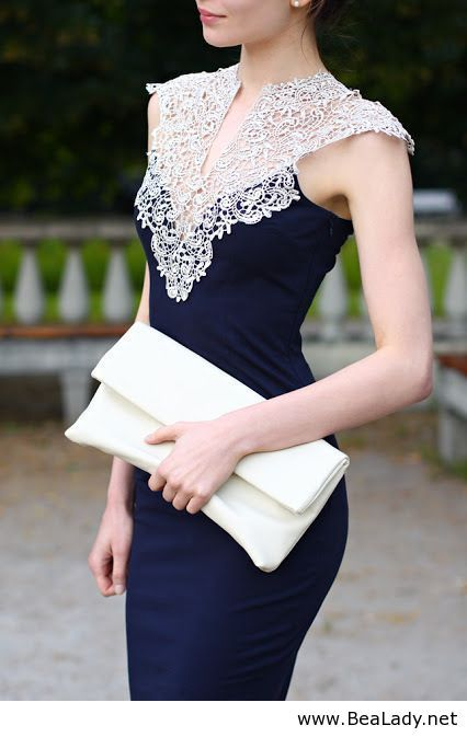 Navy sheath with gorgeous lace detailing at the neck - BeaLady.net