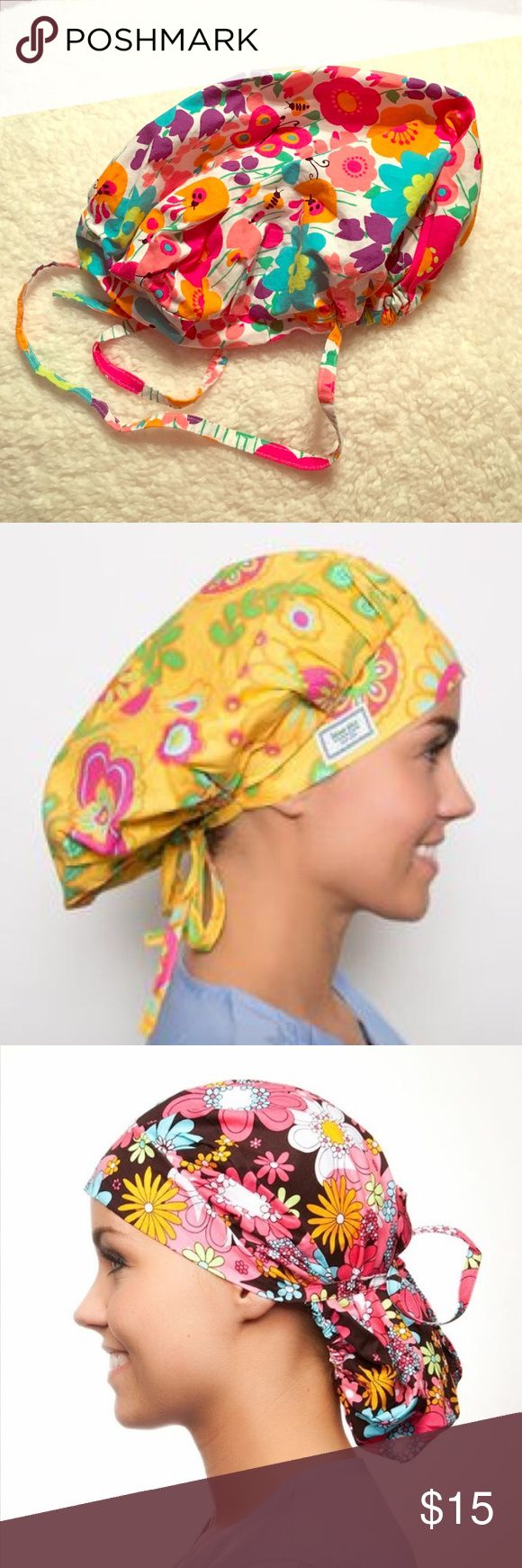 Blue Sky Scrubs Poppy Surgical Scrub Cap 😷 Blue Sky Scrubs Poppy Surgical Scrub Cap 😷, Springtime Print! Can be worn as full bouffant or pulled back with attached ties. Two hats in one!  Excellent condition. *Model pictures are for cap style reference only.* Blue Sky Scrubs Other
