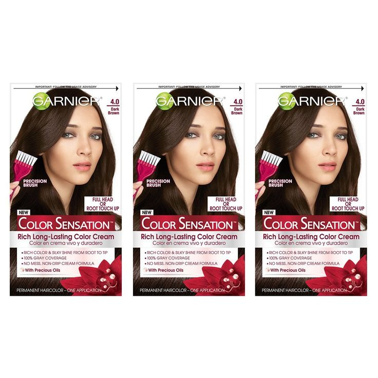 Garnier Color Sensation Hair Color Cream, 4.0 Snow Day Cocoa (Dark Brown), 3 Count -- More details can be found by clicking on the image. #hairideas