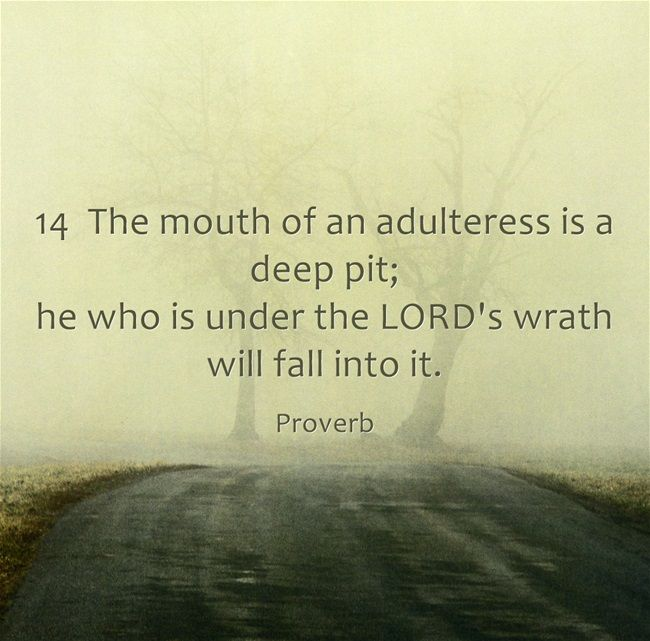 proverbs 22:14 The mouth of an adulteress is a deep pit; he who is under the LORD's wrath will fall into it.