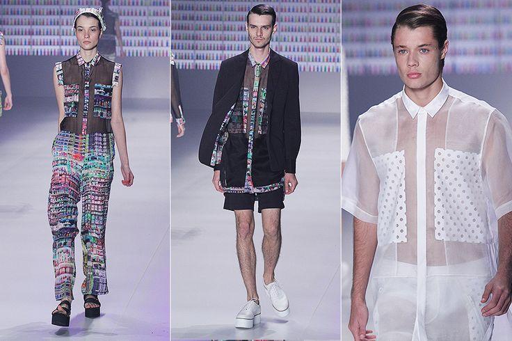 Leveza, humor e cor marcaram a apresentação, que sobrepôs peças inspiradas nos uniformes hospitalares ao beachwear.(Fashion Rio 2013/2014)
