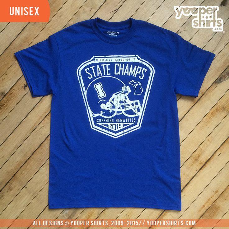 """STATE CHAMPS (Ishpeming Hematites)"" Royal Blue T-Shirt"