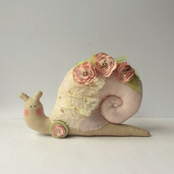 Snail toy, shabby chic pink snail animal toy, Snail in a silk shell. Toy and decor, a nice gift for anybody for any occasion.