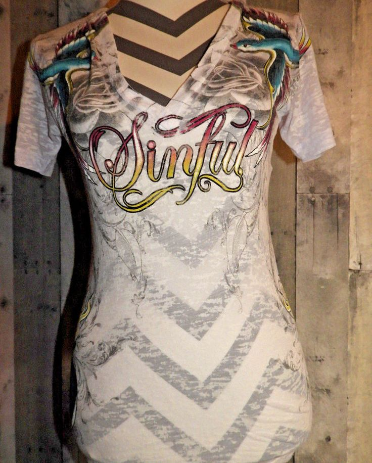 SINFUL Size SMALL Burn Out T-Shirt Swallow Birds Tattoo #Sinful #Blouse