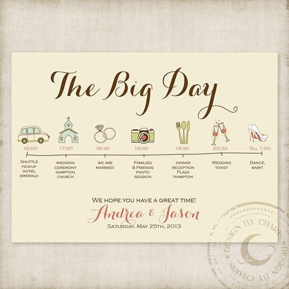Wedding Timelines Custom Itinerary by CharisDesignStudio on Etsy, $20.00