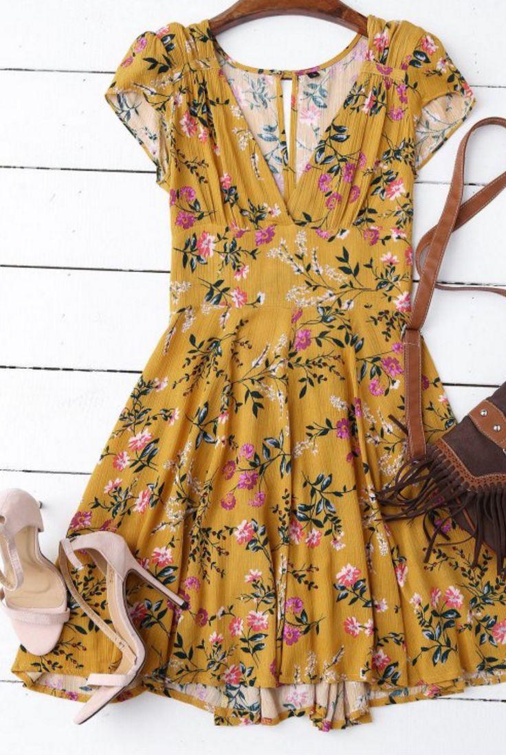 Yellow Floral Summer Dress