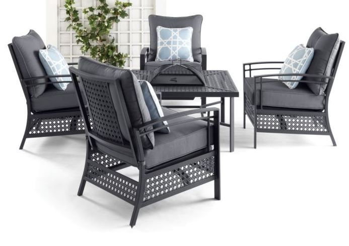 A classic with a modern twist. The fire pit in this 5-piece patio set doubles as an ice bucket when not in use!