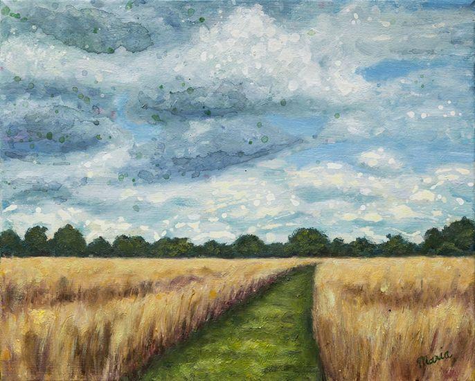 Korenveld in Drenthe Olieverf schilderij