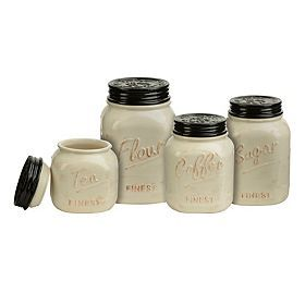 Ivory and Black Kitchen Canisters, Set of 4 I would love to have these to add to my collection of mason jar addiction stuff!!