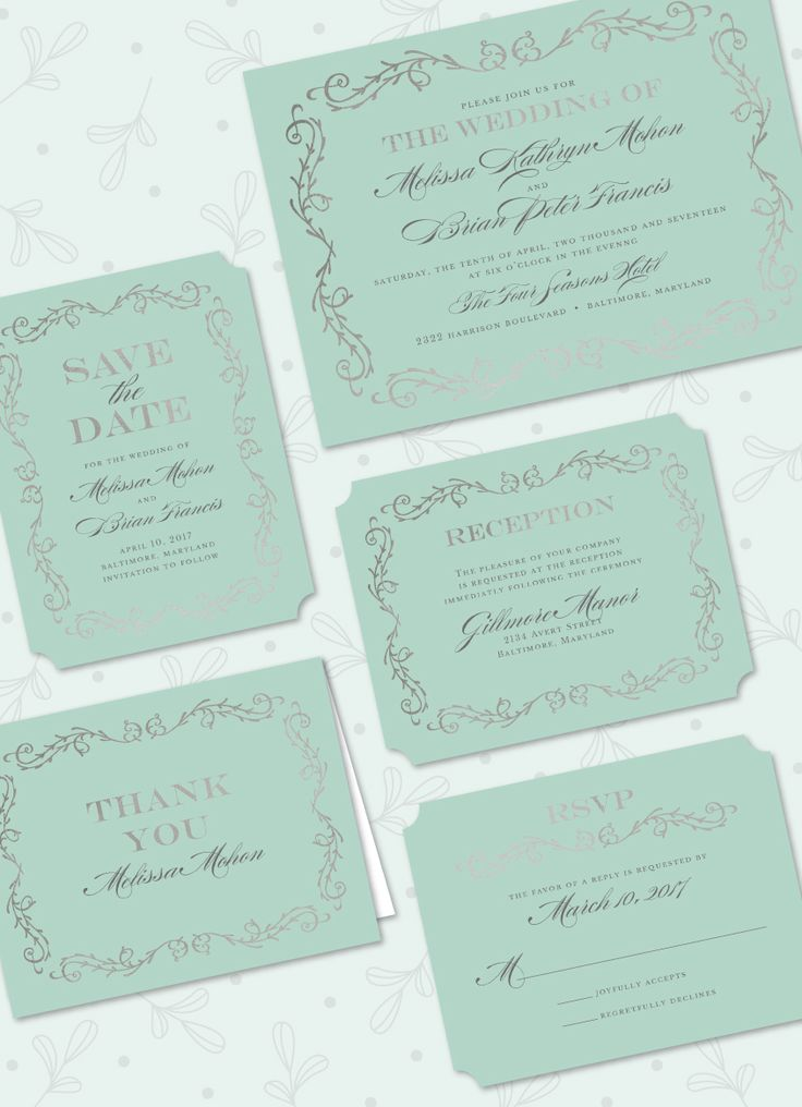 Scrolled in Foil Foil Pressed Wedding Suite: Save the Date, Invitation, Thank You Folded Note, Reception Card, Reply Card by Stacy Claire Boyd. Foil available in Silver, Gold, Rose Gold, Red, or Copper.