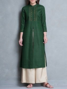 Green Mandarin Collar Thread Embroidered Matka Silk Kurta: