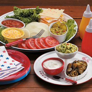 hamburger toppings bar | When serving a burger bar at your barbecue, set out a large platter ...