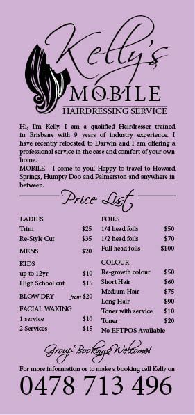 Kelly's Mobile Hairdressing Service, Hairdressers, Howard Springs, NT, 0835 - TrueLocal