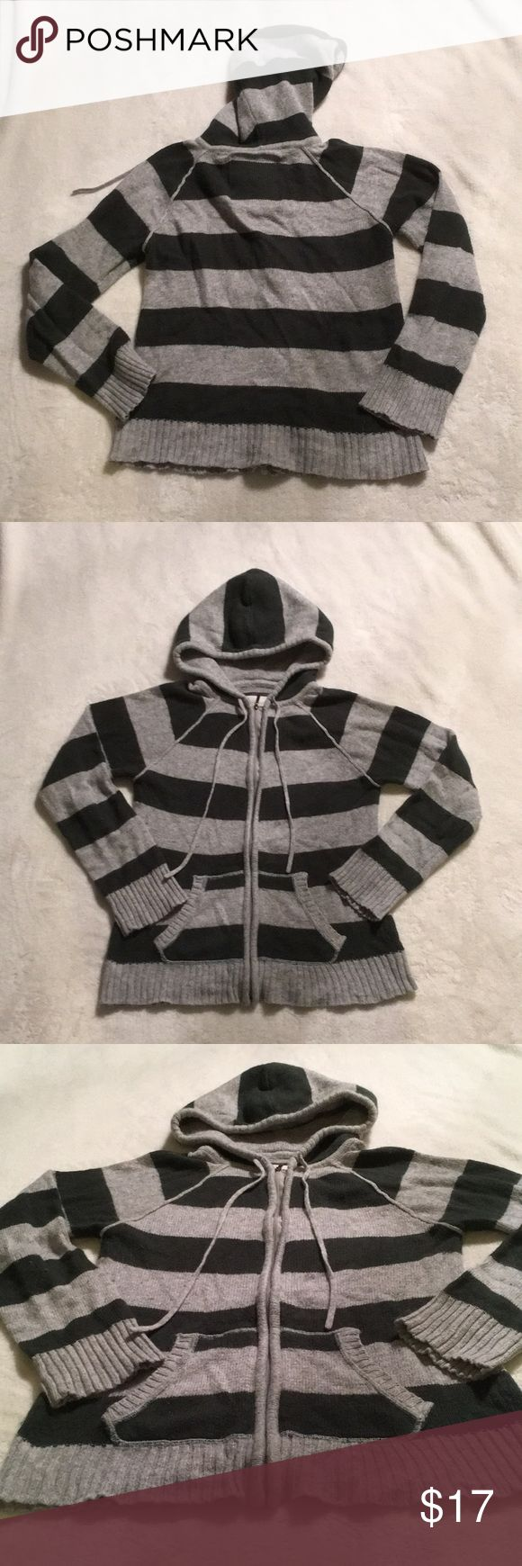 ⚡️New Item! Women's Striped Zip Up Hoodie Sweater Gently worn, women's zip up sweater hoodie. Dark green & grey thick striped. Has hood & 2 draw strings & 2 pockets in the front. Size L but fits more like a M, maybe even a S but does have some stretch to it. Made by Freedom 2 Be. Feels warm & cozy but unfortunately this is a reposh item - it's a lil small for me. Super easy to thrown on when it gets chilly & still look cute. Sweaters