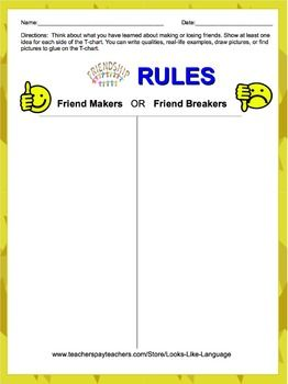 Friendship Rules- FREE Printable Graphic Organizer to discuss behaviors that are friendly (or not!) if you like this, check out the full product!