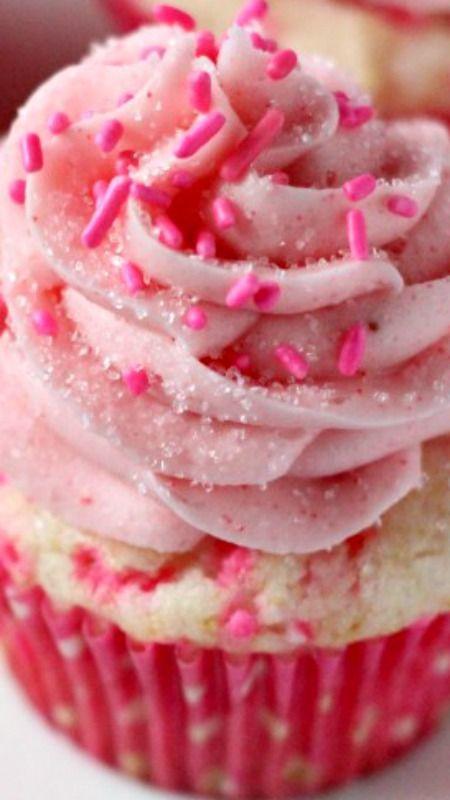 Pink Confetti Cupcakes with Strawberry Buttercream Recipe