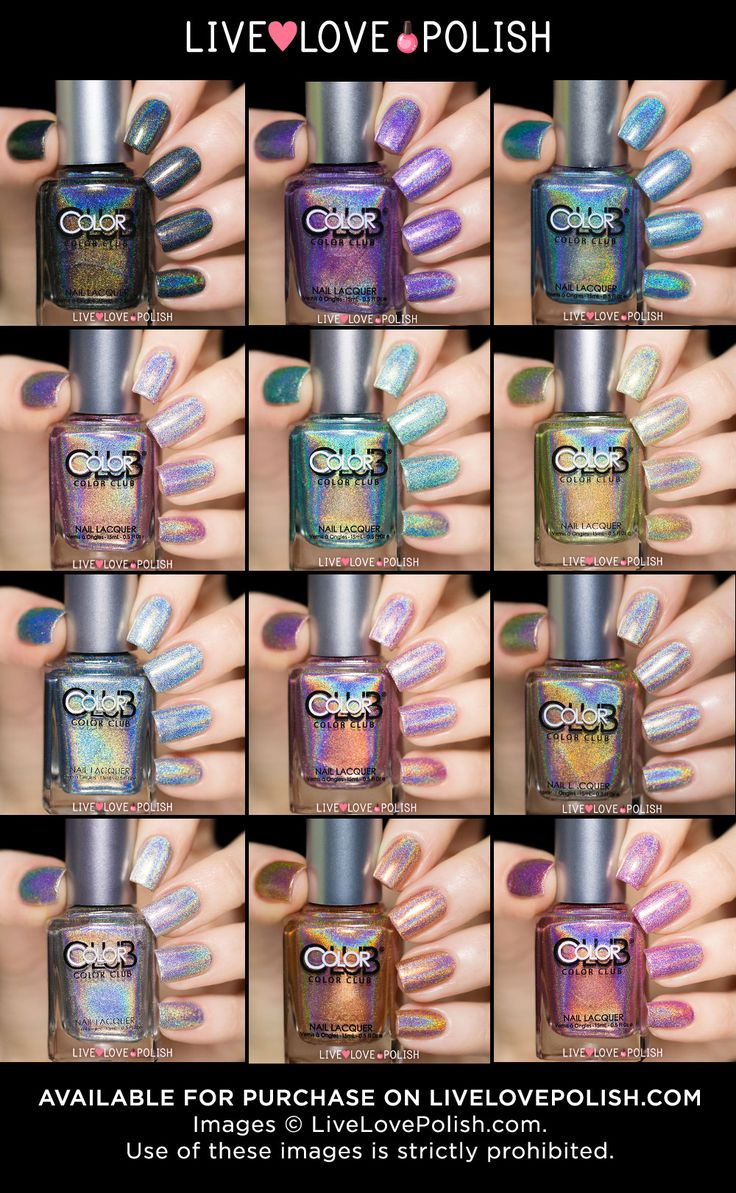 12 Color Club holographic nail polishes- holo nails are so bomb, reflective in any light----holo and iridescent are my new fav colours