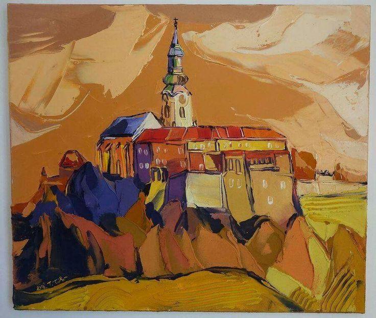V Nitre pod hradom, akryl na plátne a modelovacia pasta, www.turzak-art.sk, 70 x 60 cm,#Nitra #hrad #mestonitra #obrazy #turzakart #umenie #obraz #svk #Slovensko #art