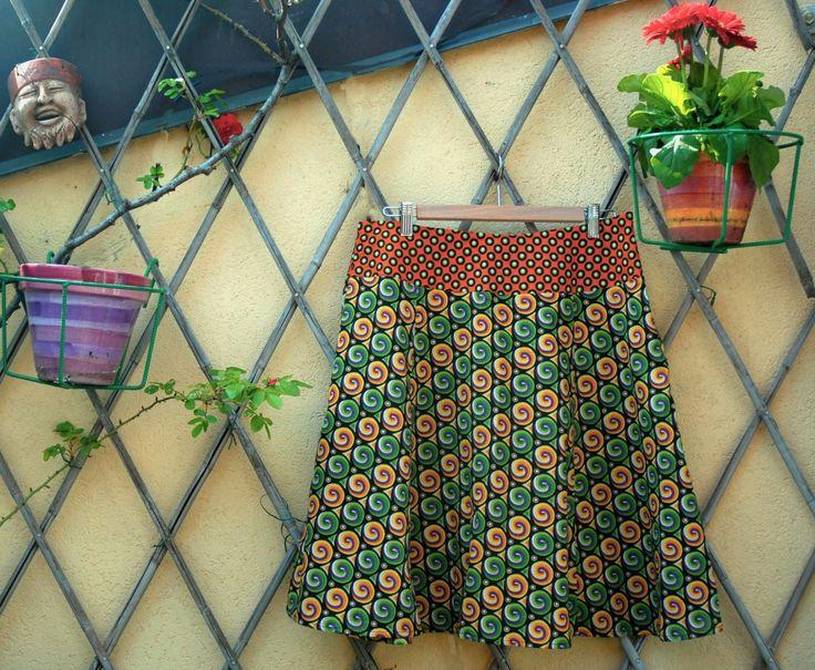 gonna con spirali verdi tessuto 100%cotone kitenge : Gonne di pl2a1design