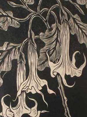 """Linocut Gregoire Boonzaier (1969 - 2005) Linocut """"Moon Flowers""""1978 31"""" x 23"""""""