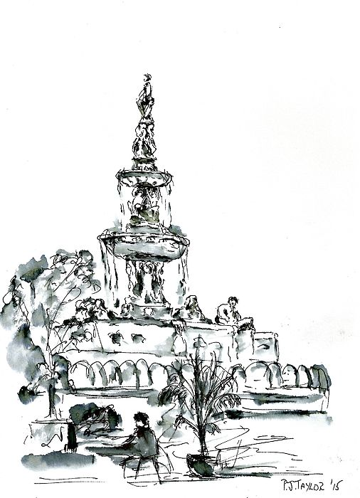 The fountain, Messina pen and wash