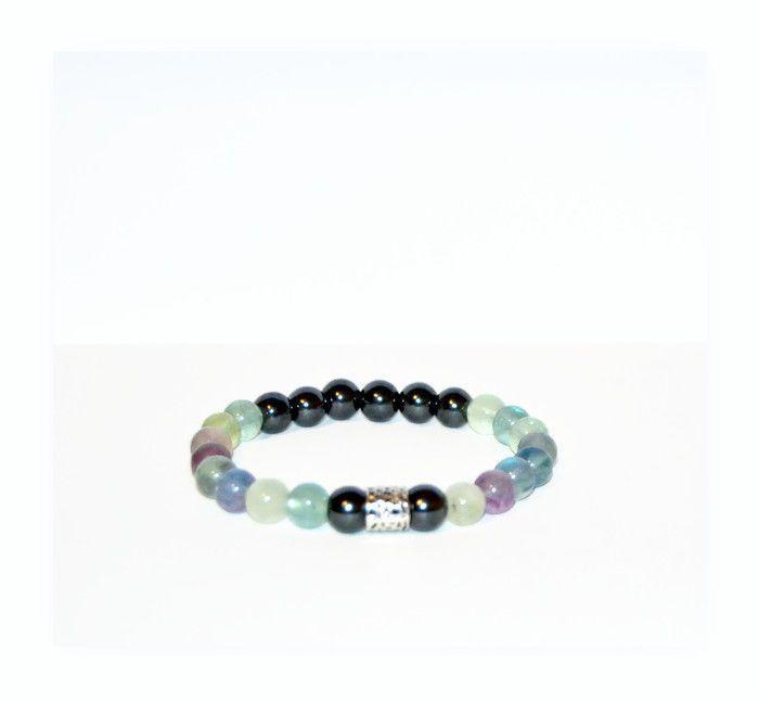 Fluorite and hematite 8mm beaded bracelet, natural gemstone jewelry #oyaikubijou #Beaded