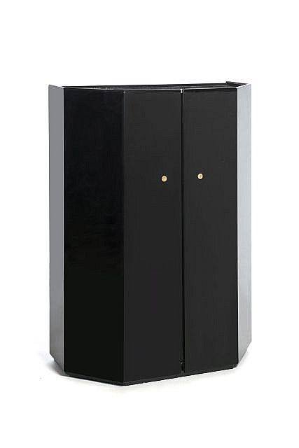 """Kazuhide TAKAHAMA (Né en 1930) Meuble ouvrant en bar """"Bramante"""" - circa 1970 Bois laqué noir Edition Gavina BLACK-LAQUERED WOODEN CABINET OPENING AS A BAR...  View additional info » Realized: Log in or create account to view price data"""